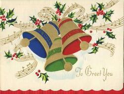 Vintage Christmas Gold Blue Red Green Bells Music Notes Embossed Greeting Card