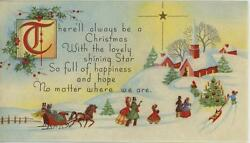 Vintage Christmas Snow Horse Sleigh Ride Curch Village Star Trees Greeting Card