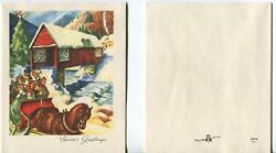 Vintage Victorian Christmas Horse Carriage Red Bridge Stream Trees Greeting Card