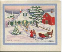 Vintage Christmas Home White House Horse Sleigh Dog Snow Winter Greeting Card