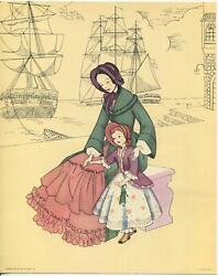 Vintage Colonial American Clipper Mast Galley Ship Woman Girl Doll Costume Print