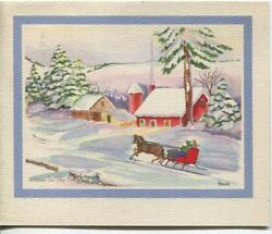 Vintage Christmas Farm Red House Horse Sleigh Snow Country Winter Greeting Card