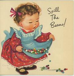 Vintage Cute Girl Apron Red Dress Spill The Jelly Beans Candy Card Art Old Print