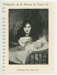 Antique Gorgeous Mother And Daugher New Infant Baby Crib Miniature Art Print