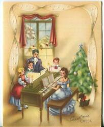 Vintage Christmas Embossed Victorian Family Piano Singing Tree Scotty Dog Card