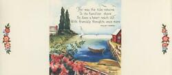 Vintage Ocean Sail Boat Flowers House 1 Cats Pussy Willows Flowers Tree Art Card