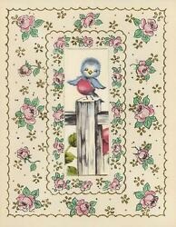 Vintage Pink Rose Flowers Blue Bird Fence Post Collage Picture Litho Art Print