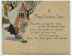 Vintage Christmas Son Deco Nouveau Stone House Shabby Gold Chic Greeting Card