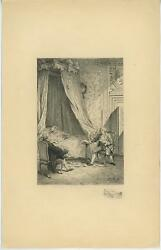 Antique Clock Canopy Drapes Curtains Bedroom Reading Letter Etching Art Print