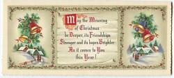 Vintage Mid Century Vintage Christmas Bells Holly House Friendship Greeting Card