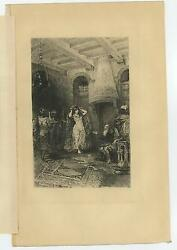 Antique Gurth Isaac 's House Beautiful Woman Veils Wine Decanter Etching Print