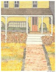 Vintage Autumn Wildflowers Brick Yellow House Wicker Chairs Porch Mint Print
