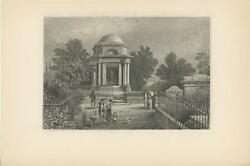 Antique Wood Baby Cart Carriage Dog Child Cemetery Grave Iron Gate Etching Print