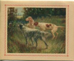 Vintage English Pointer Setter Hunting Dog Meadow Old Card Lithograph Art Print