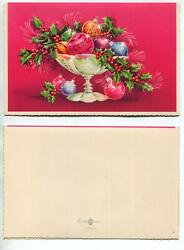 Vintage Fuchsia Magenta Hot Pink Glass Bowl Ornaments Holly Berry Greeting Card
