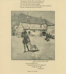 Antique Medieval Hunter Bird Greyhound Dog Squire Sporting Manor House Old Print