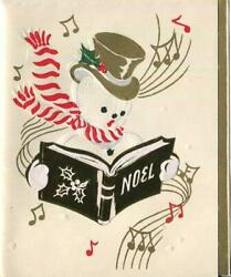 Vintage Christmas Embossed Snowman Gold Hat Scarf Music Notes Singing Art Card