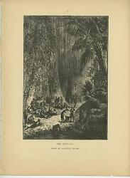 Antique Bivouac Camp Horse Soldier Cross Palm Moss Trees River Hammer Old Print