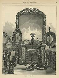 Antique Hindu Carved Furniture Table Mirror Serpent Snakes Old Art Print