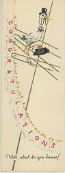 Vintage 1940's Stork Bird Diapers Clothesline Baby Bottle Late Show Card Print