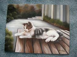 Vintage Tabby Cat Nature Picnic Table Realism Name Tiger Original Oil Painting