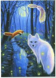 Aceo White Fox Red Fox Owl Full Moon Fireflies Stream Woods Forest Nature Print
