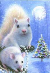 Aceo Christmas Tree White Squirrel Mouse Full Moon Snow Winter Decorating Print