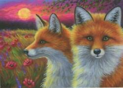 Aceo Fox Red Foxes Magenta Sunset Pink Poppy Flower Meadow Field Full Moon Print