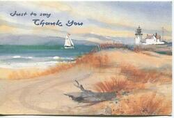 Vintage Driftwood Sand Dunes Sail Boat Ocean Lighthouse Nautical Greeting Card
