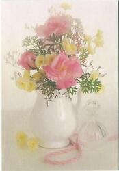 Vintage Pink Roses Garden Flowers White Pitcher Perfume Decanter Card Art Print
