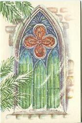 Vintage Christmas Stained Glass Window Snow Wind Pine Trees Card Art Paper Print
