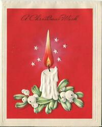 Vintage Christmas White Candle White Mistletoe Berries Stars Red Greeting Card