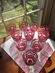 Antique 10 Val St Lambert Cranberry Cut To Clear Water Goblets 1908-20 Scarce