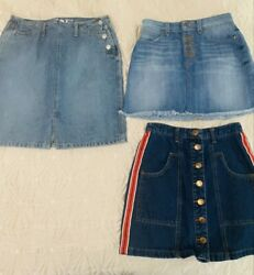 Womens Designer Blue Jean Skirts Lot Of 3 Guess The Gap And Stradivarius Size 2