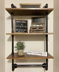 Industrial Pipe Wall Bathroom Shelf Rustic Pipe Shelves with 3 tier shelves