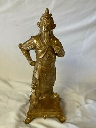 Vintage Gold Chinese Oriental Carved Resin Emperor Empress Statues 14 Tall Rare