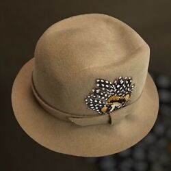 Halston Vintage Hat Tan Brown Felt Ribbon Band With Feather Union Made Womens