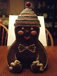 Midwest Of Cannon Falls Christmas Gingerbread Man Ceramic Cookie Jar And Lid Cute