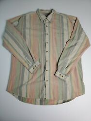 The Territory Ahead Mens Corduroy Shirt Size 2xlt Multicolor Striped Button-down