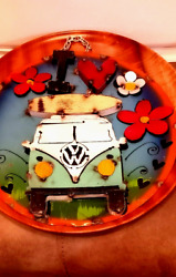 Volkswagen Bus .homemade Metal Round Vw Peace Sign. Surfboard.colorful Flowers.