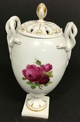 Meissen Porcelain Vase With Roses And Snake Handles