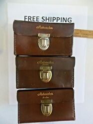 Lot Of 3 Abu Ambassadeur Brown Leather Reel Cases Condition Varies See Pictures