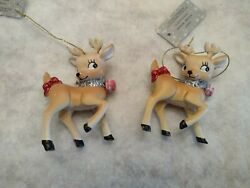 Pair Of Retro/vintage Reindeer Ornaments With Pink Bells New From Hobby Lobby 3