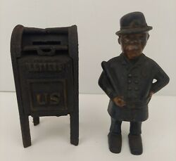 Vintage Cast Iron Banks Lot Of Two Mailbox And Policeman Flat Head Screws