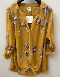 Anthropologie FIG amp; FLOWER Peasant Blouse Boho Top Tunic Embroidered NWT