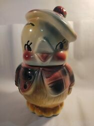 Vintage 1950and039s American Bisque Chick With Beret Tam Cookie Jar