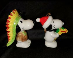 2 Vintage Snoopy Ornaments United Feature Syndicate Japan Indian And Toy Horse
