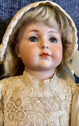 Antique 17andrdquo German Bisque Kammer Reinhardt 117 Doll W/mohair Wig Andgreat Outfit