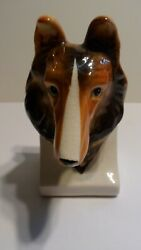 1 Vintage Collie Head Sheltie Dog Ceramic Bookend Book End Brown Japan 7 in Tall