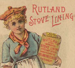 1880and039s Rutland Stove Lining Trade Card Pretty Lady Holding Can Tc253